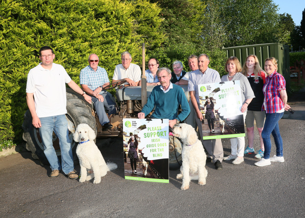 Launch of the De Courcey Harvest Working Day Raffle in aid the Irish Guide Dogs and local Community Groups on Monday 1st August marking the 80th anniversary of the production of the Ferguson Tractor, top prize is a trip to London with Barter Travel, Bandon. Pictured are Bill Chambers, John Quinn, Jimmy Regan, Simon Draper, Jim Leahy, Irish Guide Dogs, Chris Corcoran, Martin Nyhan, Johnny O'Neill, Mags Lordan, Elaine Hynes and Caroline Gallagher with Buttons and Ubi trained Guide Dogs